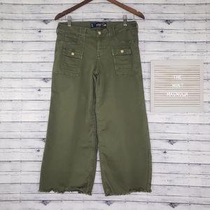 Hollister Green Low Rise Wide Leg Crop Pants